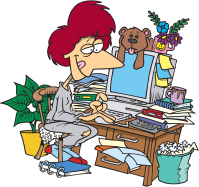 Cartoon of a lady sitting at a cluttered desk. A teddy and flowers in a mug on top of the computer, surrounded by paperwork