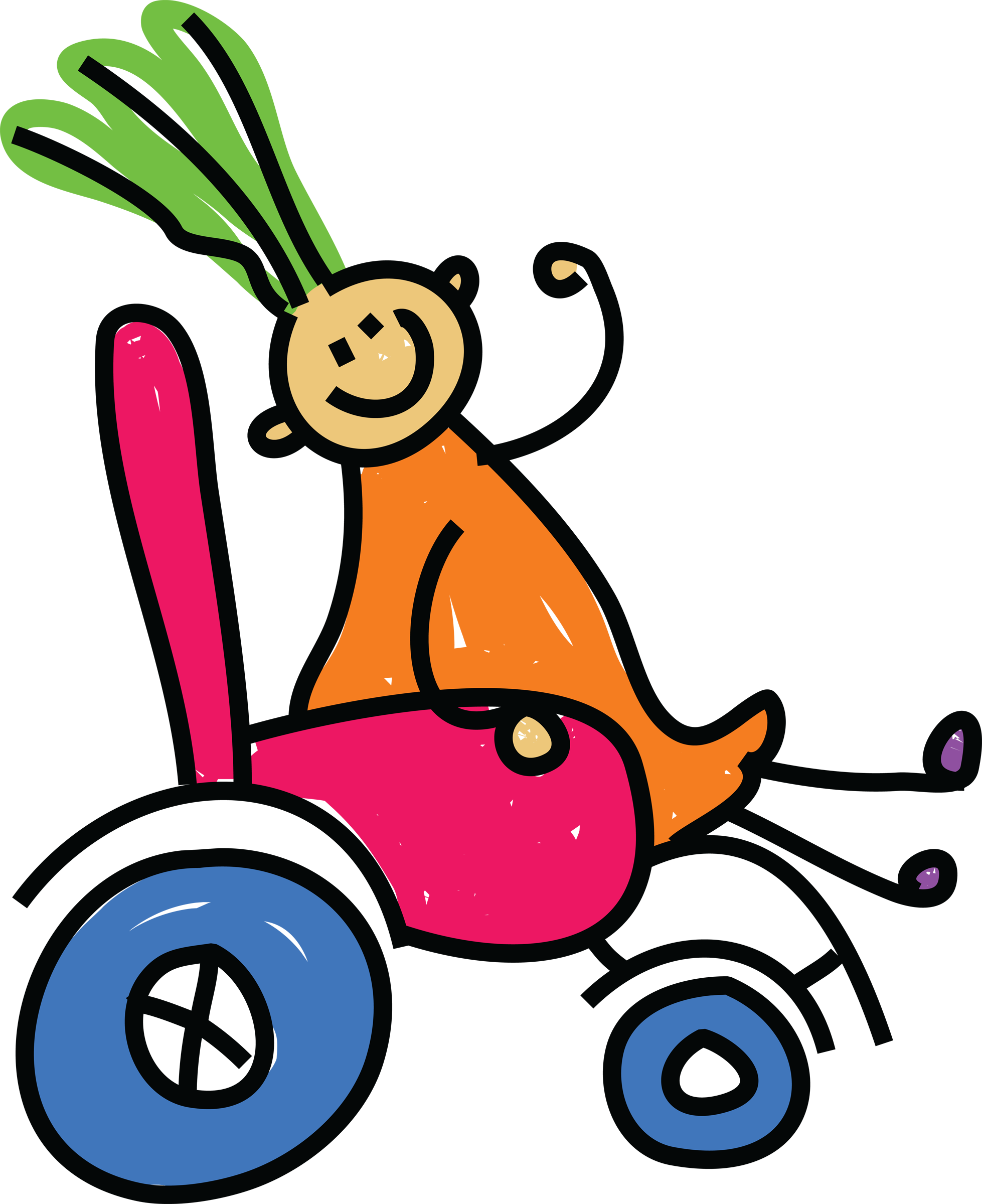 simple colourful cartoon drawing of a person sitting in a wheelchair