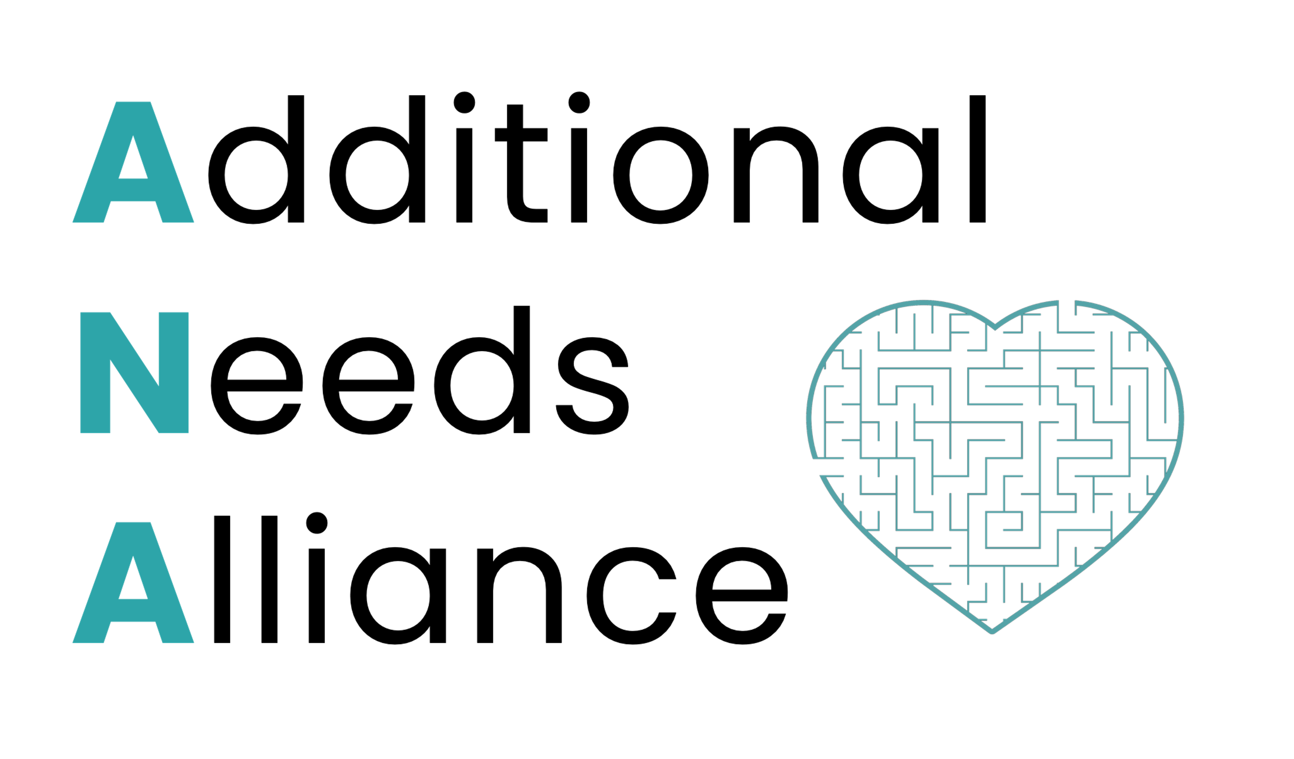Additional Needs Alliance Logo. Nest to the name is a heart with what looks like a maze inside it